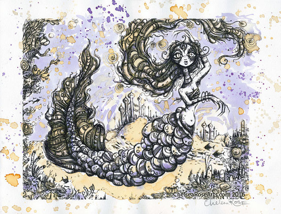 The Mermaid's Garden Tea Painting by Chelsea Rose Arts